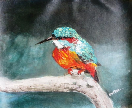 Kingfisher | Painting by artist Sadhna Tiwari | acrylic | Canvas