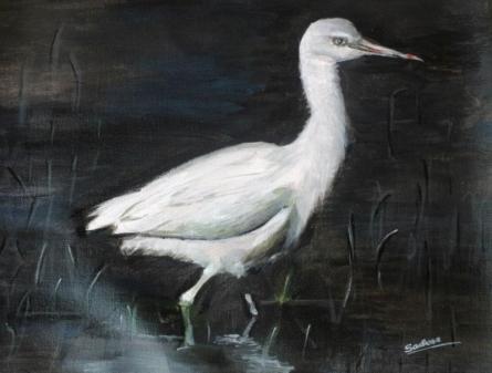 Snowy Egret | Painting by artist Sadhna Tiwari | acrylic | Canvas