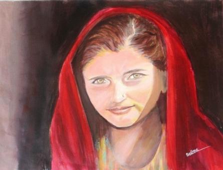 The Village Girl | Painting by artist Sadhna Tiwari | acrylic | Canvas