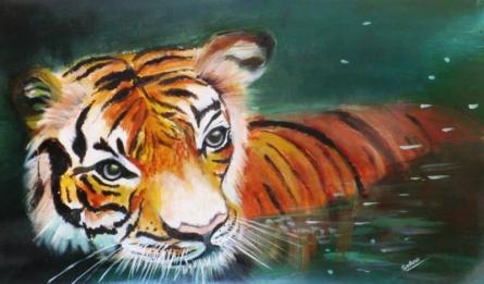 Tiger | Painting by artist Sadhna Tiwari | acrylic | Canvas