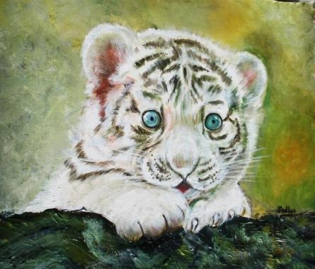 White Tiger   Painting by artist Sadhna Tiwari   acrylic   Canvas