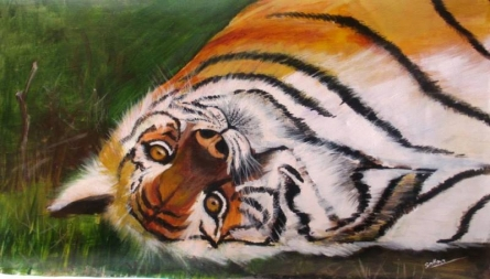 Happy Tiger | Painting by artist Sadhna Tiwari | acrylic | Canvas