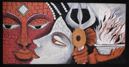 Shiv Sati | Painting by artist Sadhna Tiwari | acrylic | Canvas