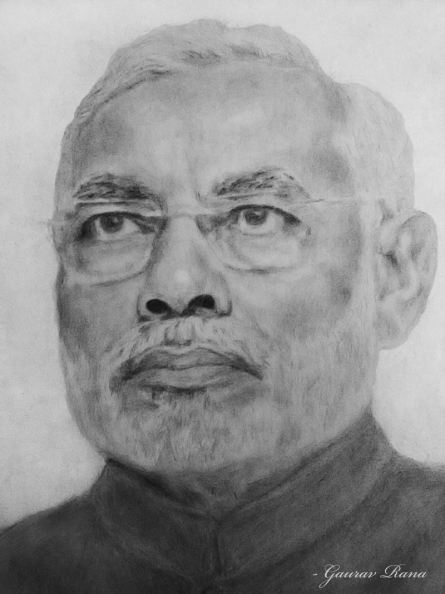 Gaurav Rana | Other Traditional art title Narendra modi sketch on Paper | Artist Gaurav Rana Gallery | ArtZolo.com
