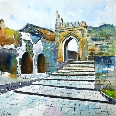 Landscape Watercolor Art Painting title Daulatabadfort by artist Chetan Agrawal