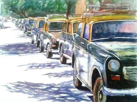 Chetan Agrawal | Watercolor Painting title Mumbaitaxi on Handmade Paper | Artist Chetan Agrawal Gallery | ArtZolo.com