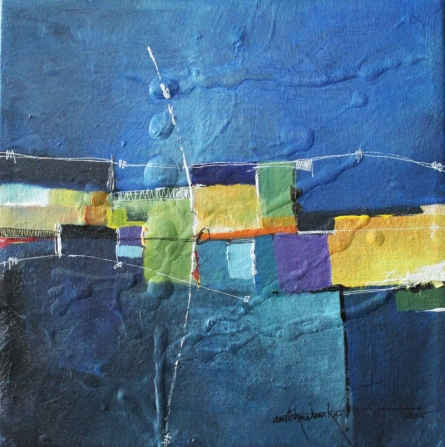 Abstract Mixed-media Art Painting title 'Remnant AM01' by artist Amrish Malvankar