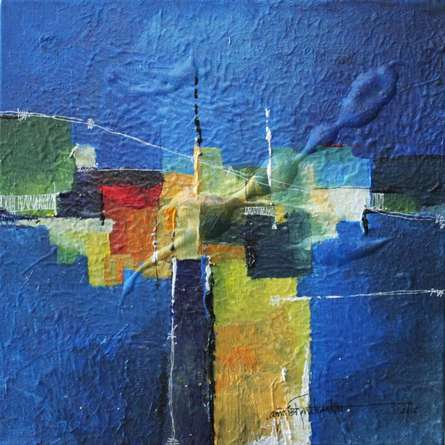 Abstract Mixed-media Art Painting title Remnant AM02 by artist Amrish Malvankar