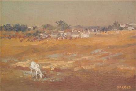 Landscape Oil Art Painting title 'Grazing Goat' by artist Fareed Ahmed