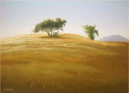 Landscape Oil Art Painting title 'Faraway Tree' by artist Fareed Ahmed