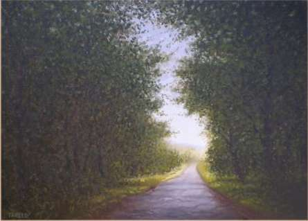 Landscape Oil Art Painting title Nature Way by artist Fareed Ahmed