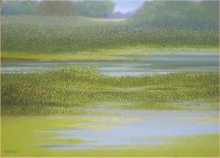 Landscape Oil Art Painting title 'The Puddle' by artist Fareed Ahmed