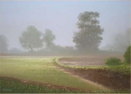 Landscape Oil Art Painting title 'drizzle' by artist Fareed Ahmed