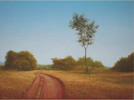 Landscape Oil Art Painting title 'Road Less Travelled' by artist Fareed Ahmed