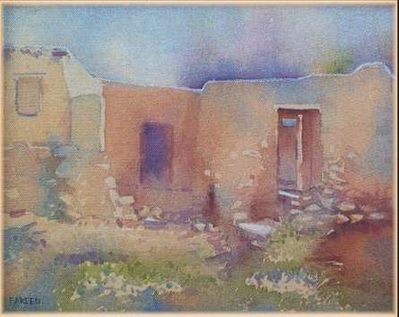 Old House | Painting by artist Fareed Ahmed | watercolor | Canvas Board