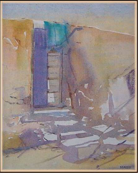 Cityscape Watercolor Art Painting title Old Door by artist Fareed Ahmed