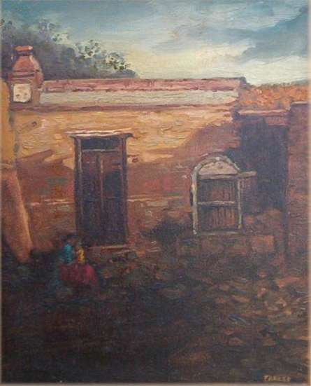 Village Home | Painting by artist Fareed Ahmed | oil | Canvas Board