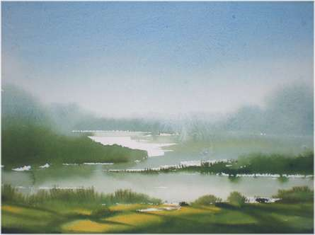 Fareed Ahmed | Watercolor Painting title Lake on Paper | Artist Fareed Ahmed Gallery | ArtZolo.com
