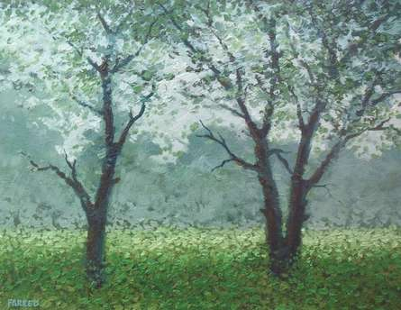 Babool tree | Painting by artist Fareed Ahmed | Oil | Canvas Board