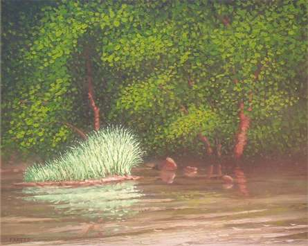 Landscape Oil Art Painting title 'Reflection' by artist Fareed Ahmed