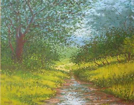 Greenery with stream | Painting by artist Fareed Ahmed | Oil | Canvas Board