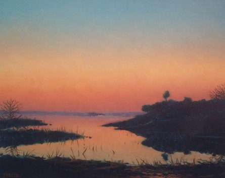 Landscape Oil Art Painting title Sunset by artist Fareed Ahmed