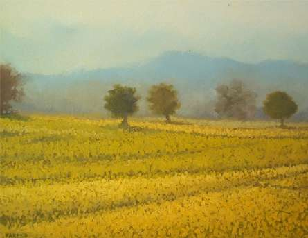 Yellow farm | Painting by artist Fareed Ahmed | oil | Canvas Board
