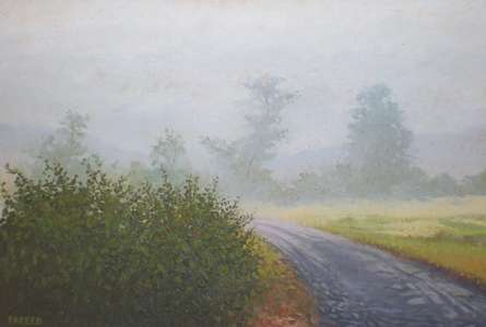 Landscape Oil Art Painting title Foggy winter by artist Fareed Ahmed