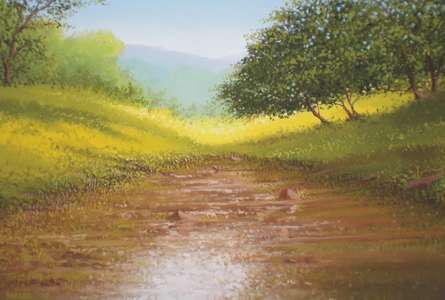 Landscape Oil Art Painting title 'winter greenery' by artist Fareed Ahmed