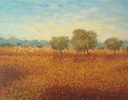 Three trees | Painting by artist Fareed Ahmed | oil | Canvas Board