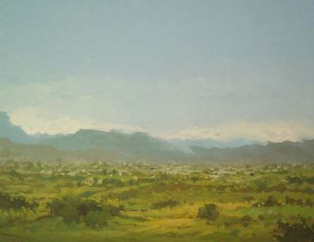 Landscape Oil Art Painting title 'Hill view' by artist Fareed Ahmed