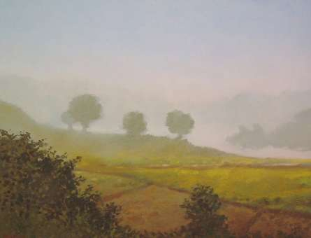 Landscape Oil Art Painting title Farm view by artist Fareed Ahmed