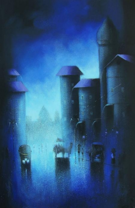 Cityscape Acrylic Art Painting title 'Blue Night' by artist Somnath Bothe