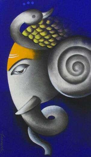 Somnath Bothe | Mixed-media Painting title Mayuresh Ganesha on Canvas | Artist Somnath Bothe Gallery | ArtZolo.com