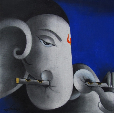 Kaveesha Ganesha | Painting by artist Somnath Bothe | mixed-media | Canvas