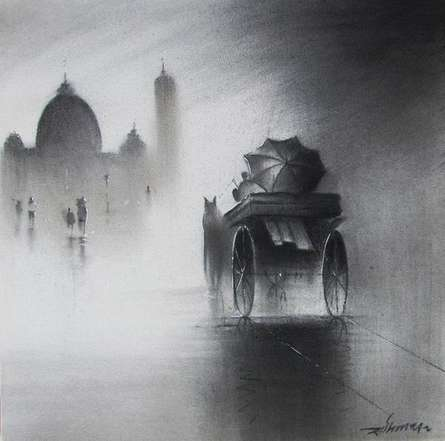 Cityscape Charcoal Art Drawing title Monsoon II by artist Somnath Bothe