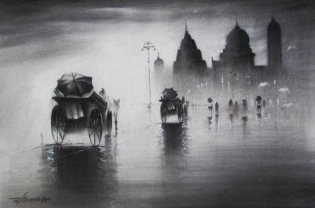 Cityscape Charcoal Art Drawing title 'Rhythmic Monsoon I' by artist Somnath Bothe