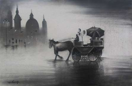 Rhythmic Monsoon III | Drawing by artist Somnath Bothe | | charcoal | Canvas