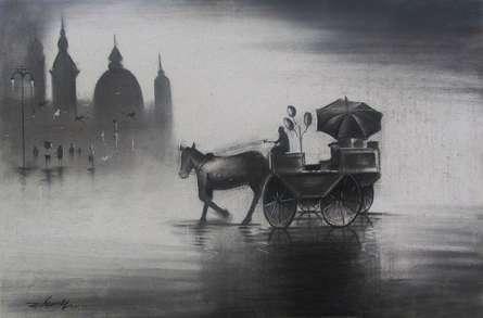 Rhythmic Monsoon III | Drawing by artist Somnath Bothe |  | charcoal | Canvas