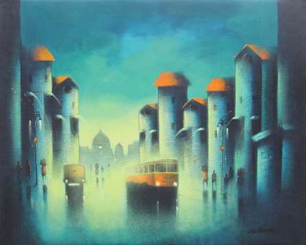 Monsoon Ride | Painting by artist Somnath Bothe | acrylic | Canvas