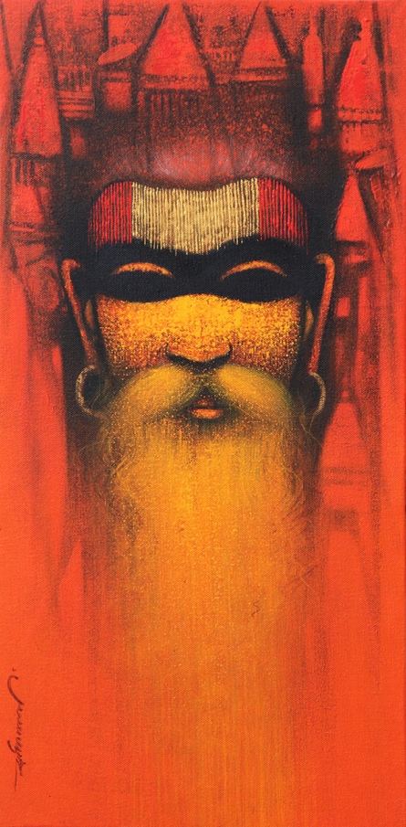 Religious Acrylic Art Painting title A Sadhu Reminiscences 1 by artist Somnath Bothe