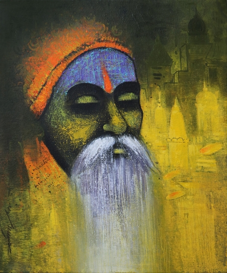 Religious Acrylic Art Painting title 'A Sadhu Reminiscences 2' by artist Somnath Bothe