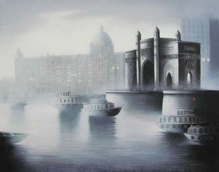 Cityscape Mixed-media Art Painting title 'Gateway Of India' by artist Somnath Bothe