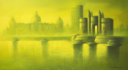 Somnath Bothe | Mixed-media Painting title Gateway Of India 1 on Canvas | Artist Somnath Bothe Gallery | ArtZolo.com
