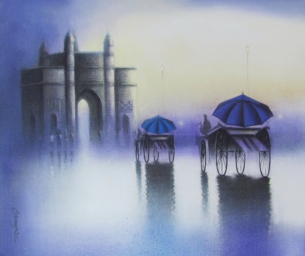 Somnath Bothe | Mixed-media Painting title Gateway Of India 2 on Canvas | Artist Somnath Bothe Gallery | ArtZolo.com