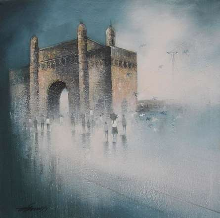 Cityscape Charcoal Art Drawing title 'Gateway Of India Mumbai' by artist Somnath Bothe