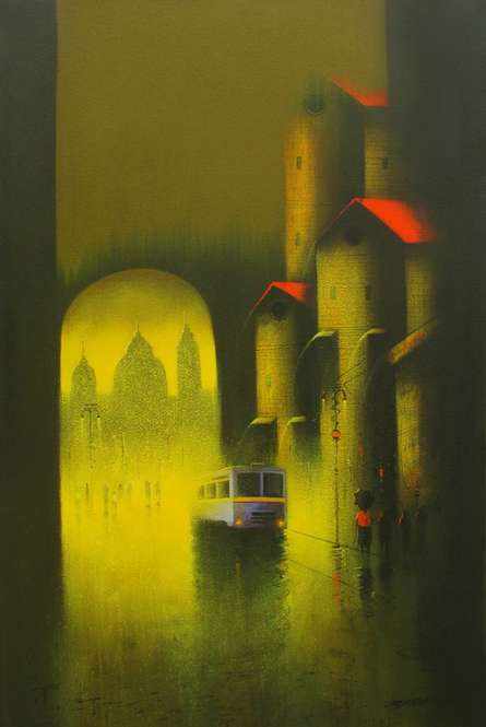 Cityscape Charcoal Art Painting title 'Golden Night' by artist Somnath Bothe