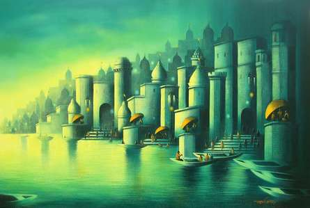 Cityscape Mixed-media Art Painting title 'Holy Banaras 1' by artist Somnath Bothe