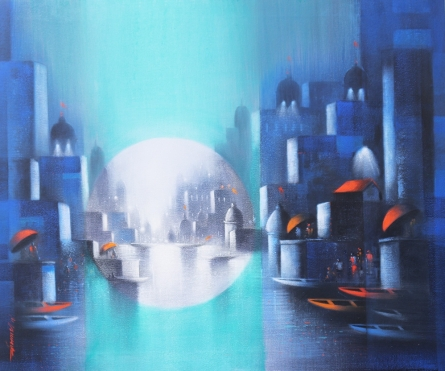 Cityscape Acrylic-charcoal Art Painting title 'Holy Banaras 16' by artist Somnath Bothe