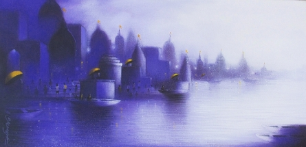 Somnath Bothe | Acrylic Painting title Holy Banaras 2 on Canvas | Artist Somnath Bothe Gallery | ArtZolo.com